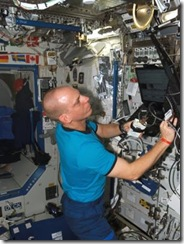 Astronaut on board the International Space Station