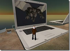 giant laptop in Second Life