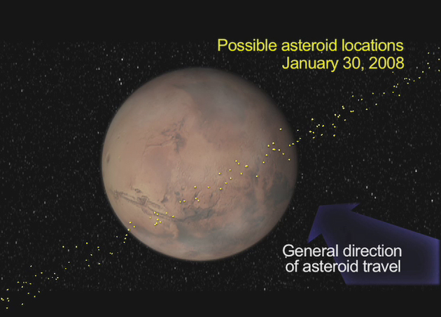 The asteroid is part of a small group of rocks that cross both Earth and Mars orbits