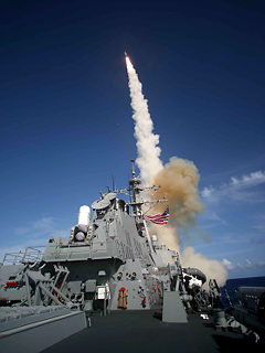 A missile firing from a US vessel