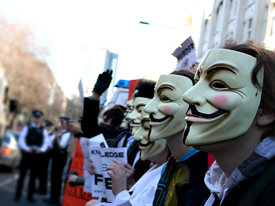 Some of the Guy Fawkes masked protestors in London
