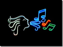 Neon sign of musical notes coming from singer