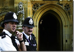 police by church door