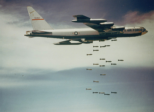 Bombs being dropped from a B-52