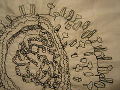 embroidered flu virus cross-section