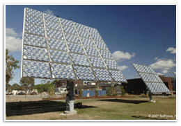 A Concentrating Photovoltaic array by Solfocus using mirrors to concentrate light onto a III-V photovoltaic