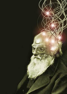 Cyborg Darwin - posthuman evolution? image copyright Kenn Brown