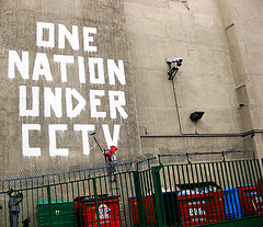 """one nation under cctv"" by Banksy"