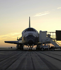 space shuttle on runway
