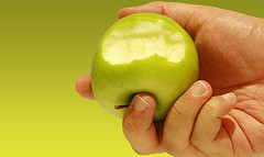 half-eaten apple