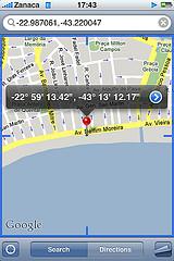 iPhone geo-locational software screenshot