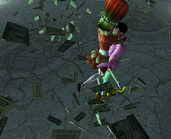 raining money in Second Life