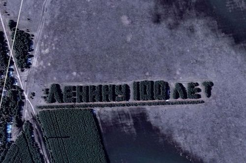 '100 years to Lenin' - Communist slogan cut into Russian forest