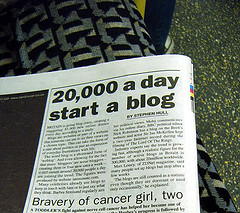 newspaper with blogging headline