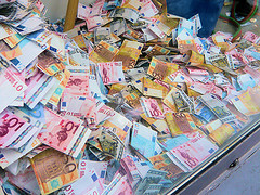 a pile of Euro notes