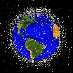 map of orbiital debris around Earth - courtesy NASA