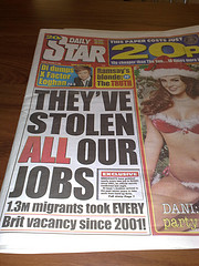 immigration hate-hype in a UK tabloid newspaper