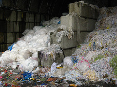 heaps of plastic for recycling