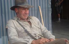 Harrison Ford on set as archaeologist Indiana Jones