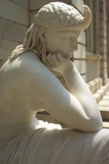 pensive statue