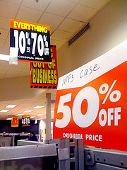 bankruptcy sale signs - tough times at Circuit City
