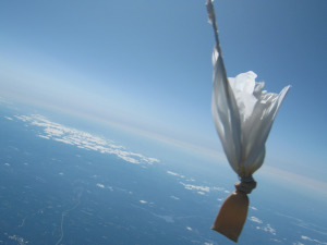 The popped Project Icarus balloon on its way back to Earth