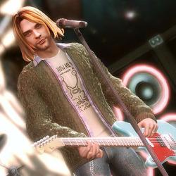Screenshot of Kurt Cobain avatar from Guitar Hero
