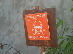 landmine warning sign, Cambodia