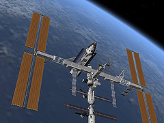 A digital rendering of the International Space Station