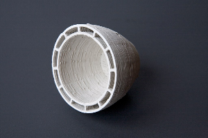 3D-printed clay vessel