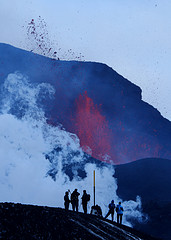 Icelandic volcano with tourists