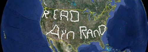 "World's largest writing: ""read Ayn Rand"""