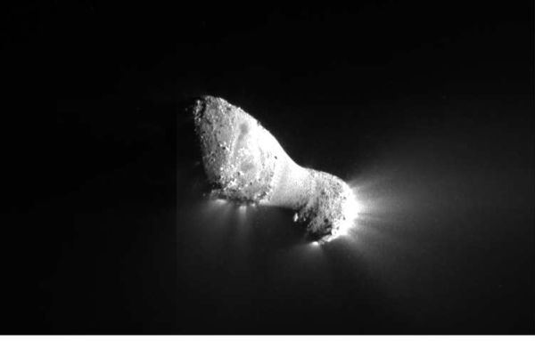 Comet Hartley 2 as seen by Deep Impact [image courtesy NASA]