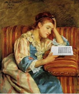 Mrs. Duffee Seated on a Striped Sofa, Reading Her Kindle, After Mary Cassatt - Mike Licht