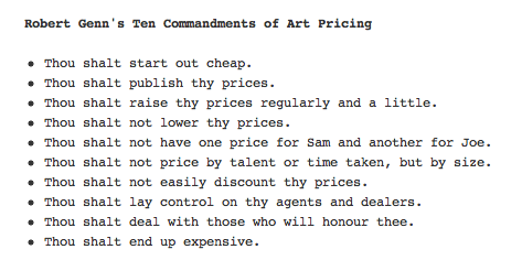 The Ten Commandments of Art Pricing by Robert Genn